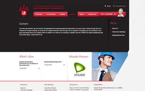 Screenshot of Jobs Page sgem.ae - Careers | Special German Electro – Mechanical L.L.C - captured Oct. 6, 2014