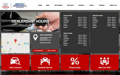 Screenshot of Hours Page dennymenholttoyota.com - Hours of Operation - Denny Menholt Toyota - captured July 2, 2018