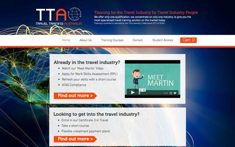 Screenshot of Home Page traveltrainingaustralia.com.au - Travel Training Australia - captured Oct. 7, 2014