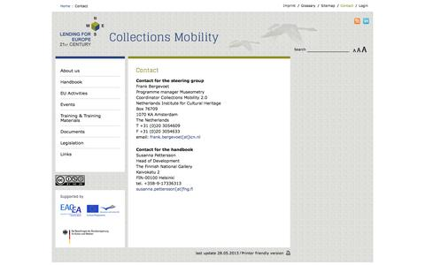 Screenshot of Contact Page lending-for-europe.eu - Lending for Europe - Collections Mobility - Contact - captured June 17, 2016