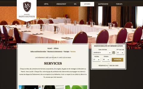 Screenshot of Services Page manoir-saint-sauveur.com - Services - Hôtel Manoir Saint-Sauveur, au coeur des Laurentides, Québec. - captured Sept. 30, 2014