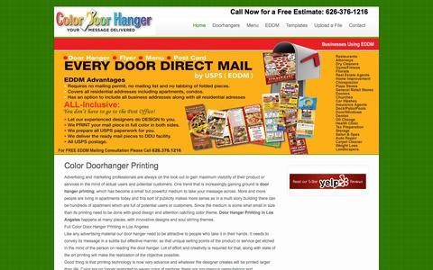 Screenshot of Home Page colordoorhanger.com - Full Color Doorhanger Printing Los Angeles, CA - captured July 20, 2018