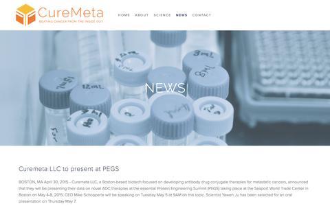 Screenshot of Press Page curemeta.com - News — CureMeta - captured Feb. 1, 2016