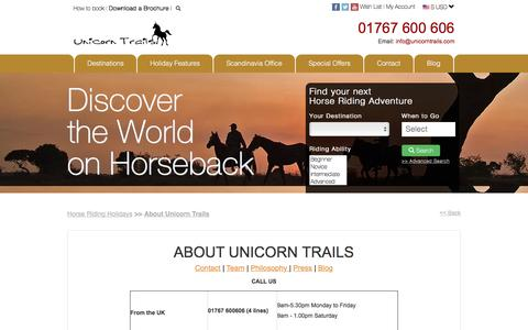 Screenshot of About Page Contact Page Team Page unicorntrails.com - Quality Horse Riding Holidays Worldwide *Unicorn Trails* - captured Dec. 18, 2016