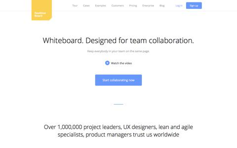 Screenshot of Home Page realtimeboard.com - RealtimeBoard | Virtual Whiteboard & Remote Collaboration tool - captured June 12, 2017