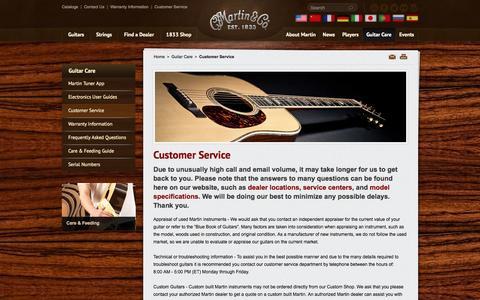 Screenshot of Support Page martinguitar.com - Martin Guitar Customer Service | C.F. Martin & Co. - captured Sept. 24, 2014