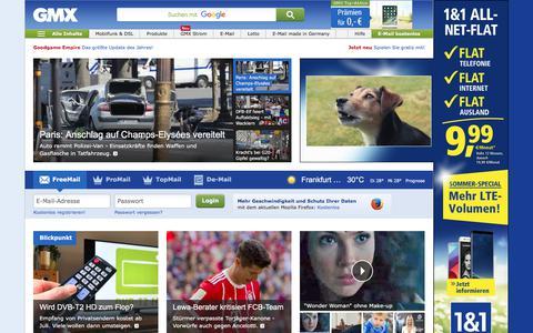 Screenshot of Home Page gmx.net - GMX: E-Mail-Adresse, FreeMail, De-Mail & Nachrichten - captured June 19, 2017