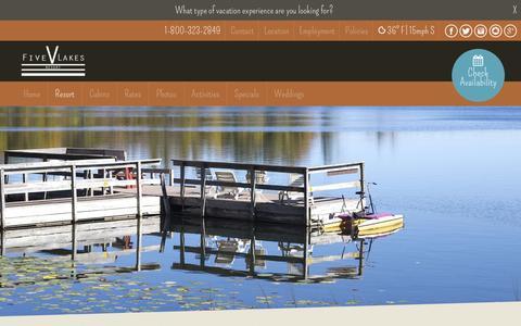 Screenshot of FAQ Page fivelakesresort.com - FAQ - Five Lakes ResortFive Lakes Resort - captured March 5, 2016