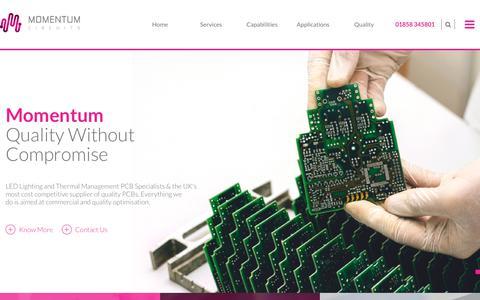 Screenshot of Home Page momentumcircuits.com - Momentum Circuits_2018 - captured Oct. 18, 2018