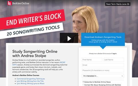 Screenshot of Landing Page berklee.edu - Study Songwriting with Berklee Online - captured May 10, 2017