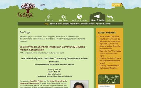Screenshot of Blog ecologic.org - EcoBlogic   EcoLogic Development Fund - captured Oct. 1, 2014