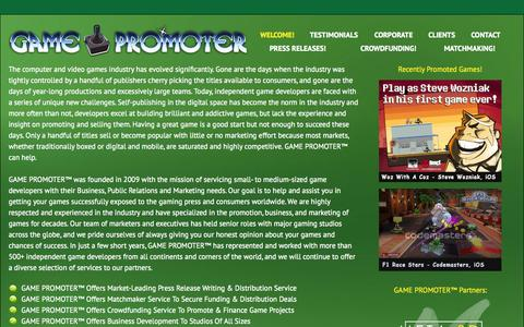 Screenshot of Home Page indiedeveloperconsulting.com - Welcome! | GAME PROMOTER™ - captured Sept. 30, 2014