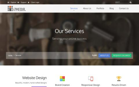 Screenshot of Services Page i7media.net - Services - i7MEDIA - captured Aug. 6, 2016