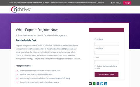 Screenshot of Landing Page nthrive.com - A Holistic Approach to Claim Denials Management - captured Sept. 19, 2018