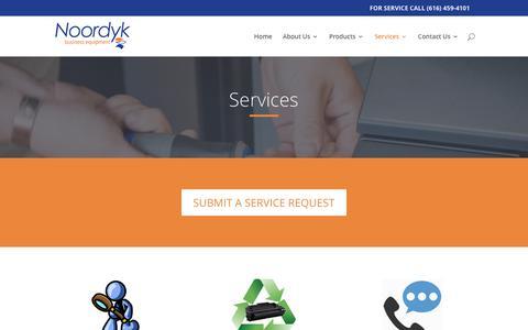 Screenshot of Services Page noordyk.com - Services - Noordyk Business Equipment - captured Oct. 22, 2017