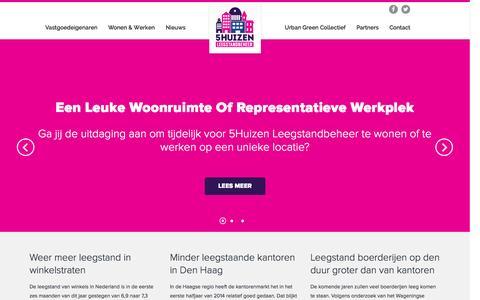 Screenshot of Home Page 5huizenleegstandbeheer.nl - 5Huizen Leegstandbeheer « Flexibel leegstandbeheer met een korte opzegtermijn - captured Sept. 30, 2014