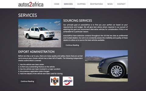 Screenshot of Services Page autos2africa.com - Services | autos2africa | Vehicle Export Sourcing Agency - captured Sept. 30, 2014