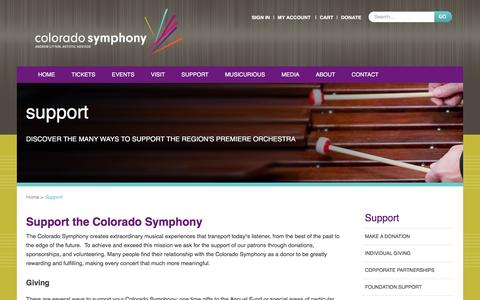 Screenshot of Support Page coloradosymphony.org - Support Colorado Symphony | Denver, CO - Classical Concerts - captured Sept. 9, 2016