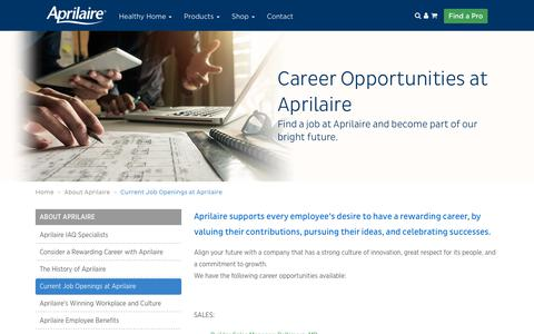 Screenshot of Jobs Page aprilaire.com - Current Job Openings at Aprilaire - captured Oct. 4, 2018