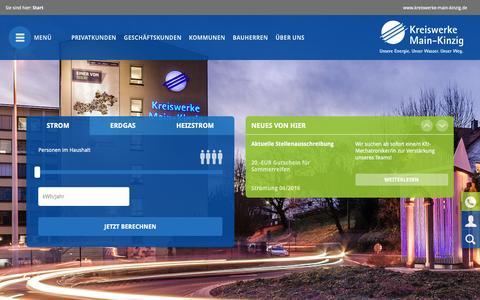 Screenshot of Home Page kreiswerke-main-kinzig.de - Kreiswerke Main-Kinzig: Startseite - captured March 26, 2017
