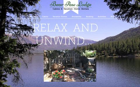 Screenshot of Home Page bearpawlodge.com - Bear Paw Lodge Cabins and Vacation Home Rentals - captured June 19, 2015