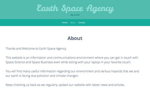 Screenshot of About Page earthspaceagency.org - About – Earth Space Agency - captured July 15, 2018