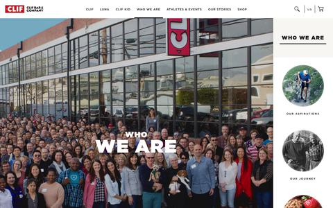 Screenshot of About Page clifbar.com - CLIF: Who We Are - captured July 28, 2018