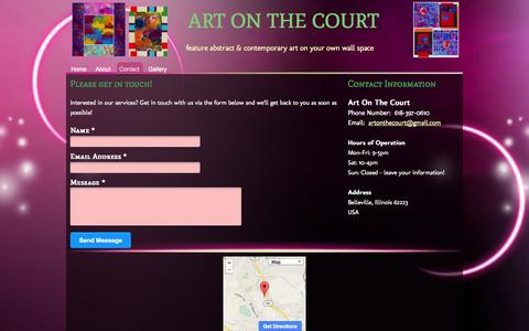 Screenshot of Contact Page artonthecourt.com - ART ON THE COURT - Contact - captured Oct. 6, 2014