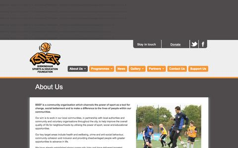 Screenshot of About Page bsef.co.uk - About Us - BSEF - Birmingham Sports and Education Foundation - captured Oct. 27, 2014