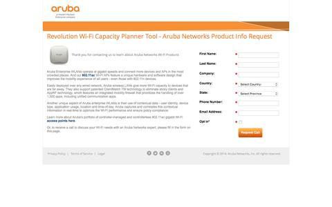 Screenshot of Landing Page arubanetworks.com - Revolution Wi-Fi Capacity Planner Tool - Aruba Networks Info Request - captured March 26, 2016