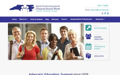 Screenshot of Home Page ncscsw.org - North Carolina Society for Clinical Social Work | - captured Dec. 2, 2016