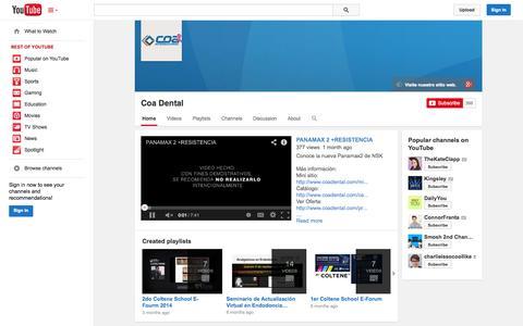 Screenshot of YouTube Page youtube.com - Coa Dental  - YouTube - captured Oct. 22, 2014