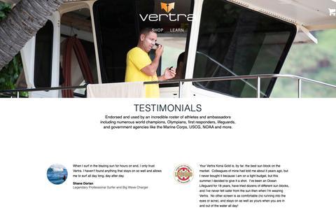 Screenshot of Testimonials Page vertra.com - Testimonials - captured March 26, 2019