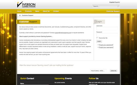 Screenshot of Support Page iversongaming.com - Customer Support - captured Oct. 6, 2014