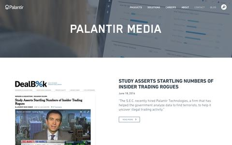 Screenshot of Press Page palantir.com - Palantir Media | Palantir - captured June 16, 2015
