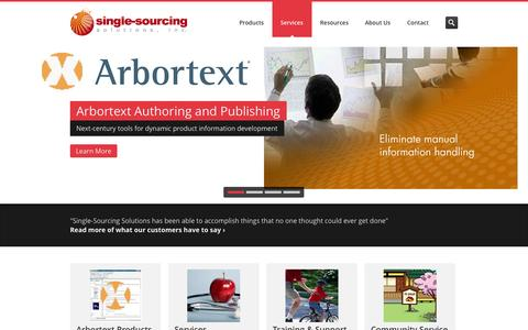 Screenshot of Home Page single-sourcing.com - Single-Sourcing Solutions - PTC Arbortext Reseller and Trainer - captured Oct. 4, 2014