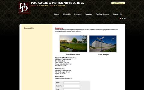 Screenshot of Locations Page packagingpersonified.com - Contact Us - captured Oct. 1, 2014