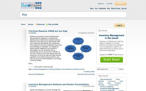 Screenshot of Blog ducotrax.com - DucoTrax | Inventory Management Software Blog - captured Oct. 6, 2014