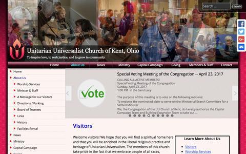 Screenshot of About Page kentuu.org - Visitors - Unitarian Universalist Church of Kent, Ohio - captured April 23, 2017