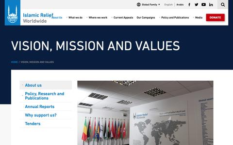 Screenshot of About Page islamic-relief.org - Vision, Mission and Values | Islamic Relief Worldwide - captured Nov. 12, 2018