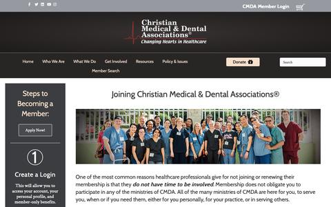 Screenshot of Signup Page cmda.org - Join CMDA – Christian Medical & Dental Associations - captured Sept. 28, 2018