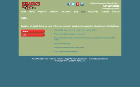 Screenshot of FAQ Page franksglass.com - Commercial Glass-Residential Glass-General Questions-Frank's Glass - captured Aug. 22, 2018