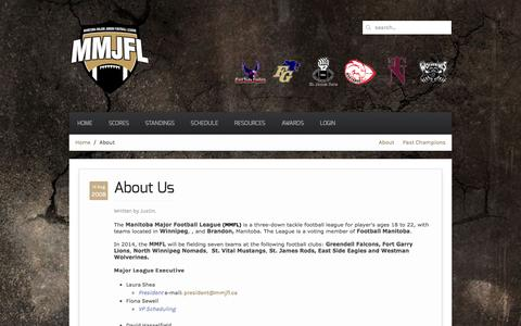 Screenshot of About Page mmjfl.ca - Manitoba Major Junior Football League - About - captured May 23, 2016