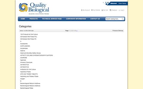 Screenshot of Site Map Page qualitybiological.com - Quality Biological - captured Oct. 3, 2014