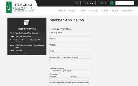 Screenshot of Signup Page effinghamcounty.com - Member - Effingham County Chamber of Commerce, GA - captured Sept. 27, 2018