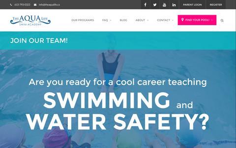 Screenshot of Jobs Page theaqualife.ca - Careers - The Aqua Life - captured Dec. 10, 2016