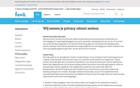 Screenshot of Privacy Page fonq.nl - Wij nemen je privacy uiterst serieus - captured Aug. 28, 2016