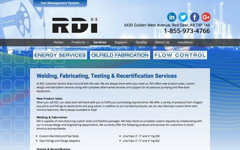 Screenshot of Services Page rdironworks.com - Services | Red Deer Ironworks Inc. - captured Dec. 3, 2016