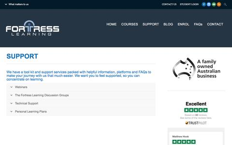 Screenshot of Support Page fortresslearning.com.au - SUPPORT | Fortress Learning - captured Dec. 5, 2015
