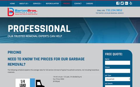 Screenshot of Pricing Page bartenbros.com - Waste Disposal Point Pleasant | Junk Removal NJ | Junk Car Removal 08742 - Barten Bros Junk & Clean Up - captured Nov. 22, 2016